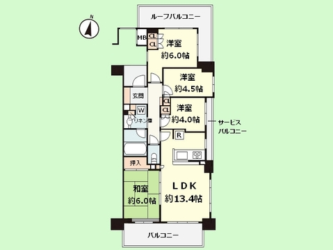 4LDK 専有面積72.45平米、バルコニー面積18.43平米