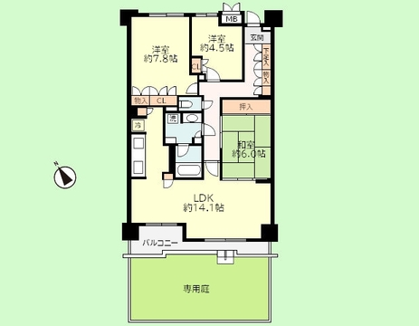 3LDK 専有面積85.00平米、バルコニー面積8.78平米