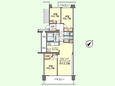 3LDK 専有面積76.42平米、バルコニー面積 10.8平米
