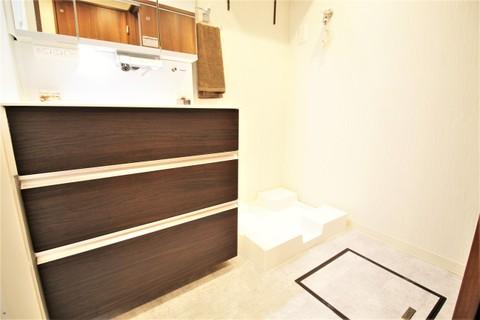 洗面室には床下収納があるので、買い置きした洗剤も楽々収納できます
