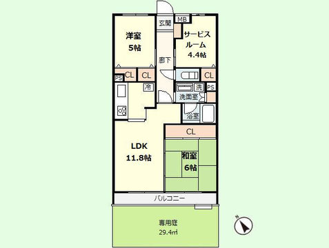 2SLDK 専有面積66.00平米、バルコニー面積5.22平米、専用庭面積29.40平米