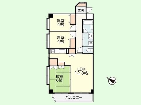 3LDK 専有面積61.55平米、バルコニー面積6.18平米
