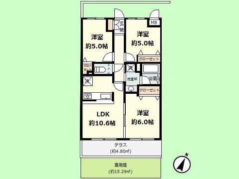 3LDK 専有面積60.00平米、バルコニー面積20.09平米