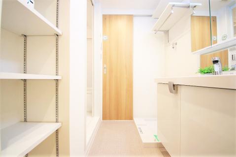 豊富な収納スペースを設けた洗面室