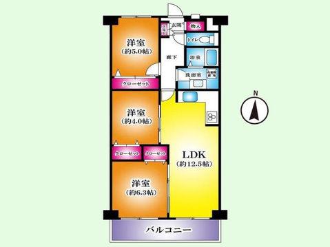 3LDK 専有面積67.20平米、バルコニー面積6.72平米