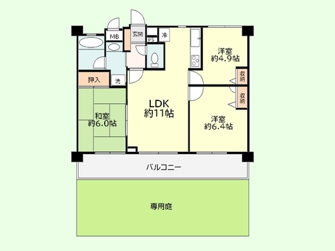 3LDK  専有面積59.50平米、バルコニー面積12.15平米