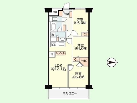 3LDK 専有面積61.60平米、バルコニー面積7.48平米