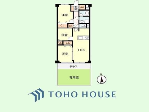 3LDK+専用庭 専有面積61.71平米 バルコニー面積7.15平米