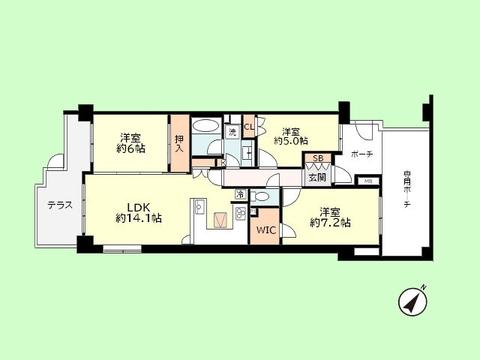 3LDK 専有面積72.23平米、テラス面積10.43平米