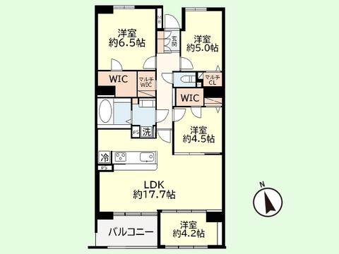 4LDK 専有面積87.88平米、バルコニー面積6.43平米