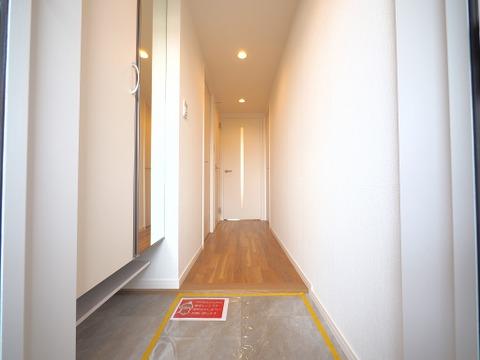 優しい雰囲気の玄関、たっぷりと入る収納を完備