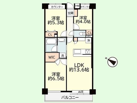3LDK 専有面積65.37平米、バルコニー面積6.87平米