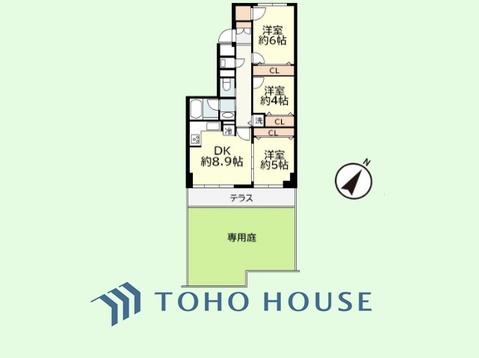 3LDK+専用庭 専有面積58.05平米、バルコニー面積7.56平米