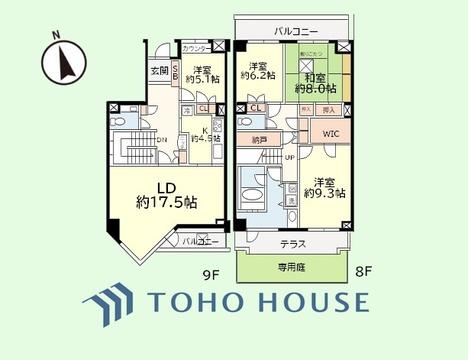 4LDK 専有面積142.67平米、バルコニー面積14.82平米 テラス・専用庭面積19.74平米