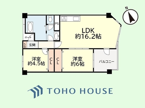 2LDK 専有面積64.55平米、バルコニー面積6.9平米