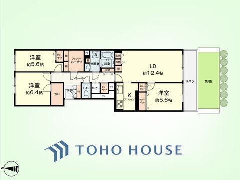 3LDK 専有面積87.05平米、テラス面積8.40平米、専用庭面積:22.80平米