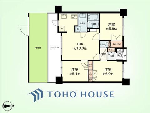 3LDK 専有面積62.14平米、バルコニー面積13.21平米、専用庭面積19.62平米