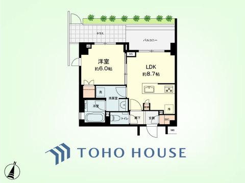 1LDK 専有面積36.84平米、バルコニー面積5.6平米、テラス面積4.38平米