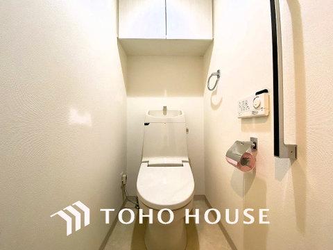 上部に収納スペースがあり、トイレ回りも綺麗に魅せられるのは嬉しい設計ですね