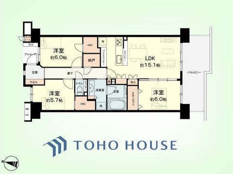 3LDK+納戸、トランクルーム 専有面積80.16平米、バルコニー面積14.3平米
