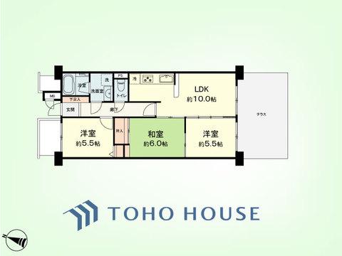 3LDK 専有面積59.85平米、テラス面積16.20平米