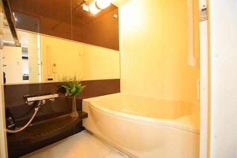 「一日の疲れを落としてくれる場所は、一番落ち着く場所でなければならない」 高級感溢れるカラーと大きさ・柔らかな曲線で構成された半身浴も楽しめるバスタブが心地よさをもたらします。